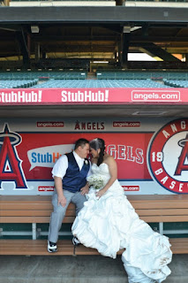 bride and groom at angel stadium