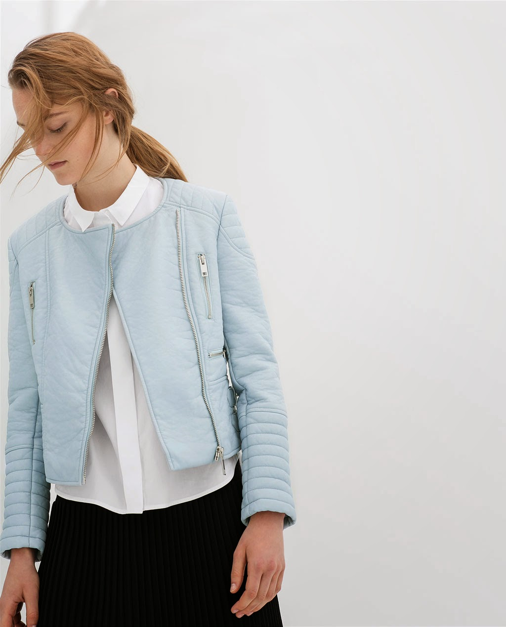 zara pastel leather jacket