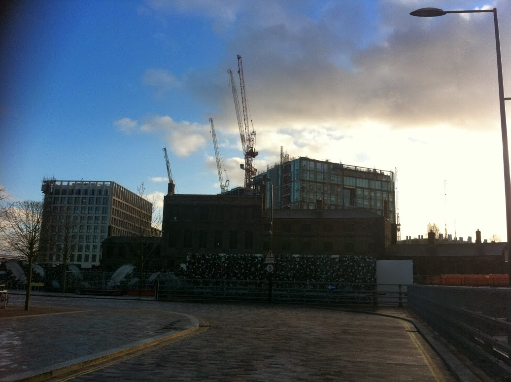 Redevelopment at Kings Cross, London looking south from Stable Street