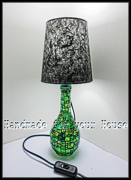 Vetrina handmade lampada da tavolo green mosaic for Lampade piccole da tavolo