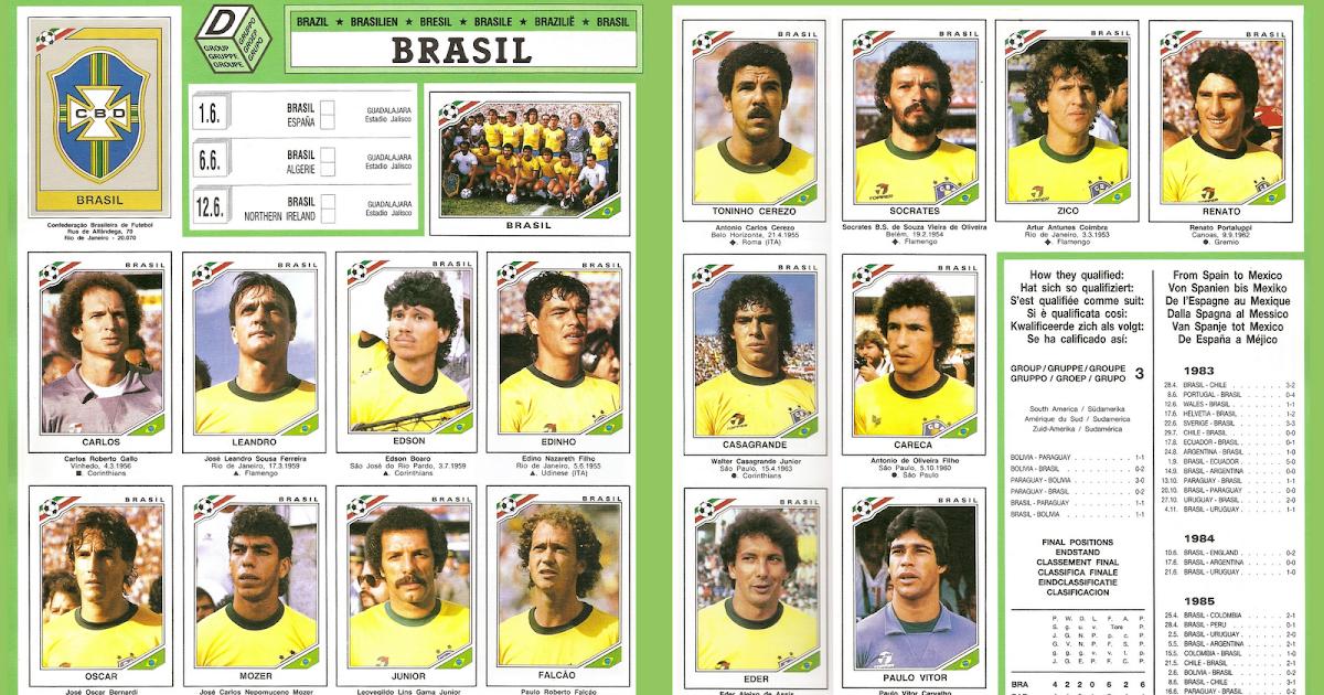 Old school panini mexico 86 pr sentation du br sil - Equipe de france 1982 coupe du monde ...