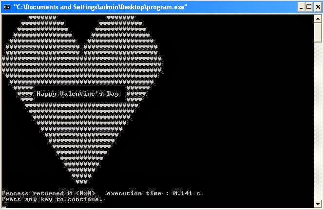 Valentine's Day Special: C++ Program to Print Heart Shape with Happy Valentine's Day Message inside it