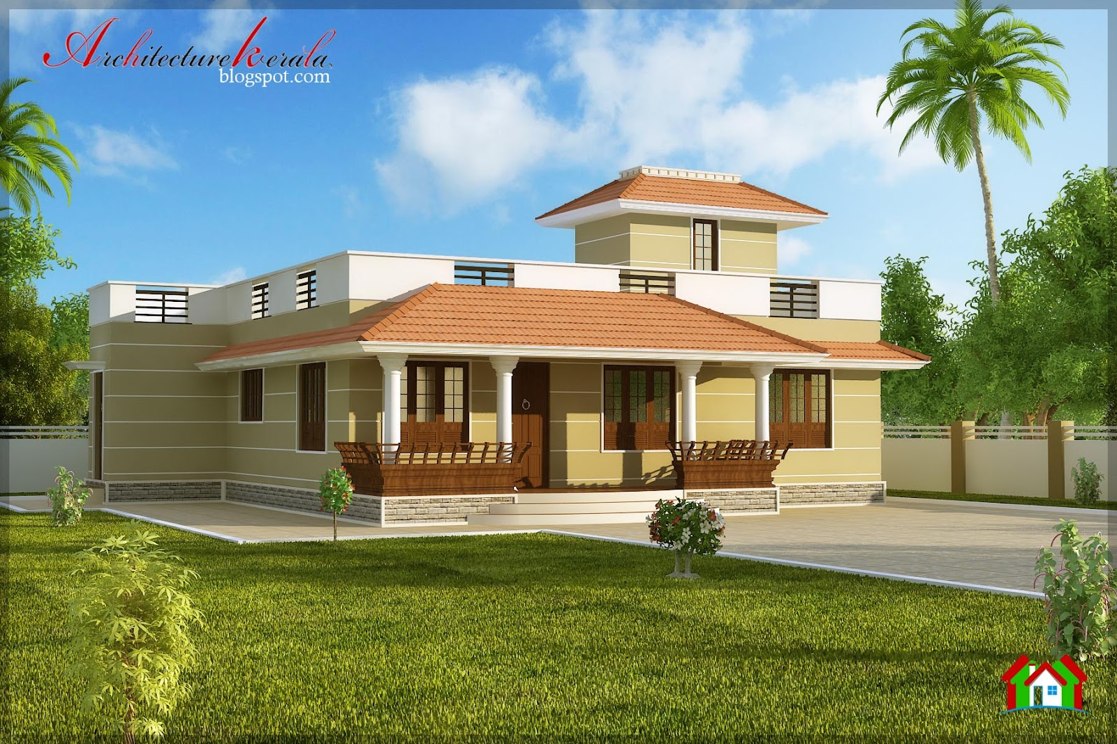 Architecture kerala single storied house elevation for Kerala building elevation