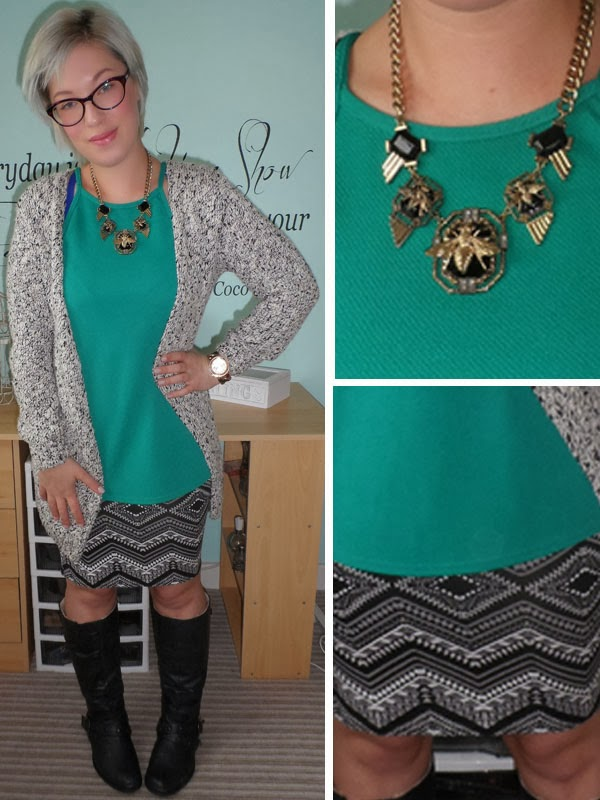 Green Cami with Aztec Midi Skirt and Grey Cardigan