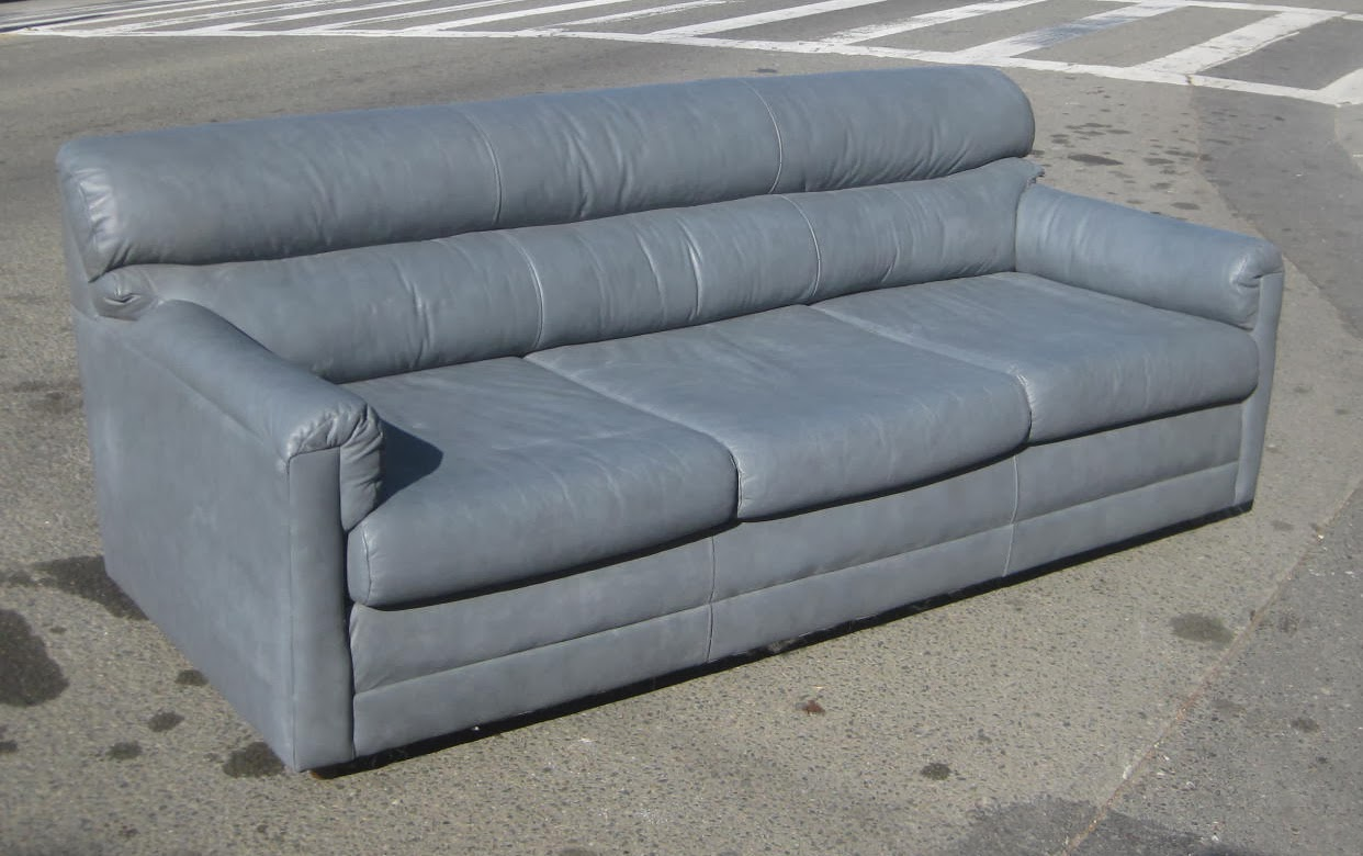 Uhuru Furniture Collectibles Sold Firm Grey Not Blue Leather Sofa 125
