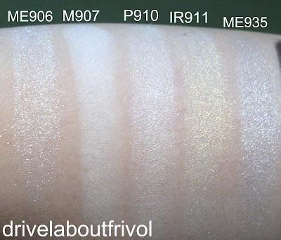 swatch Shu Uemura eyeshadow ME906 ME 906, M907 M 907, P910 P 910, IR911 IR 911, ME935 ME 935