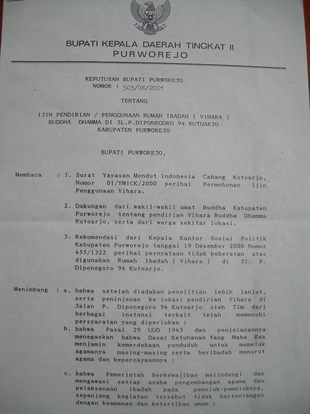 Vihara Buddha Dhamma Kutoarjo: Decision letter from Bupati Purworejo ...