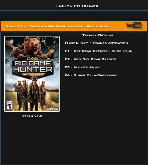 Cabelas Big Game Hunter Pro Hunts v1.0 Trainer +4 [LinGon]