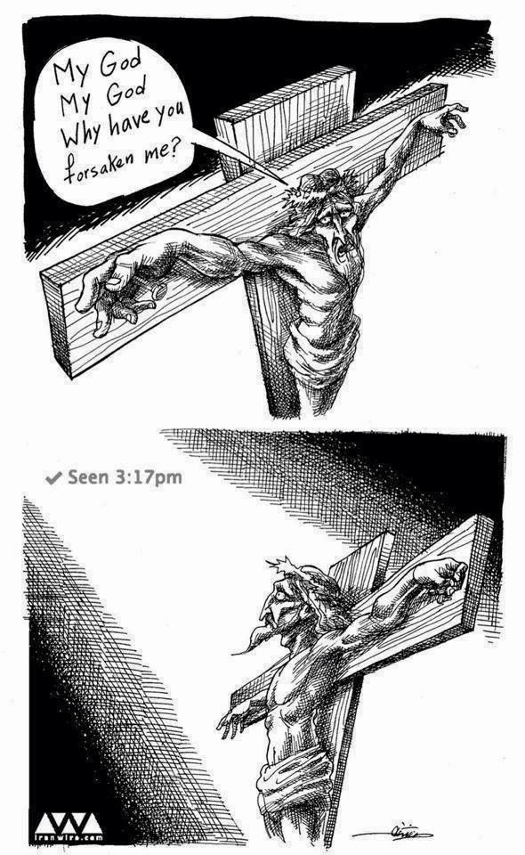 Funny Jesus God Forsaken Facebook Joke Cartoon