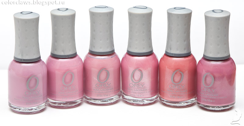 Orly Petit Four, Everything's Rosy, Artifical Sweetener, Raspberry Ice, Santa Fe Rose, Alabaster Verve.