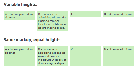 Make equal height columns