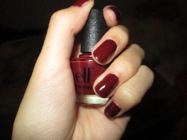 l. nail polish in dark red