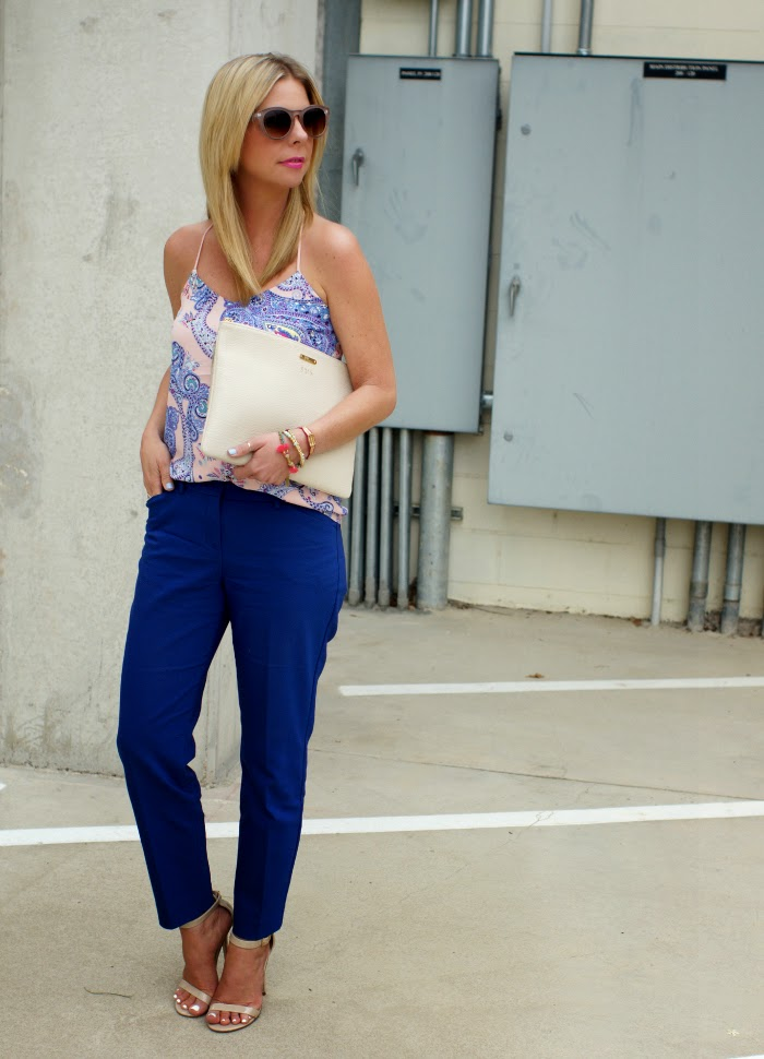 cobalt blue ankle pants
