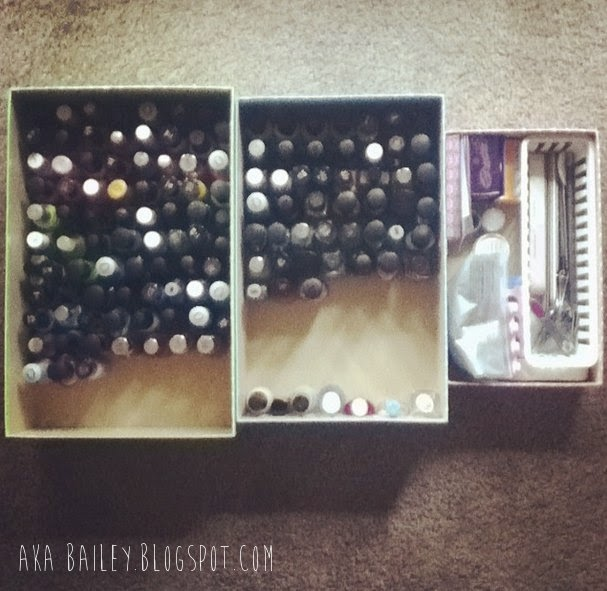 Nail polishes organized into storage boxes