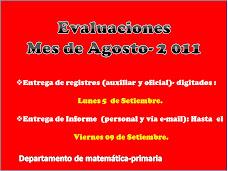 Mes de Agosto - Evaluaciones