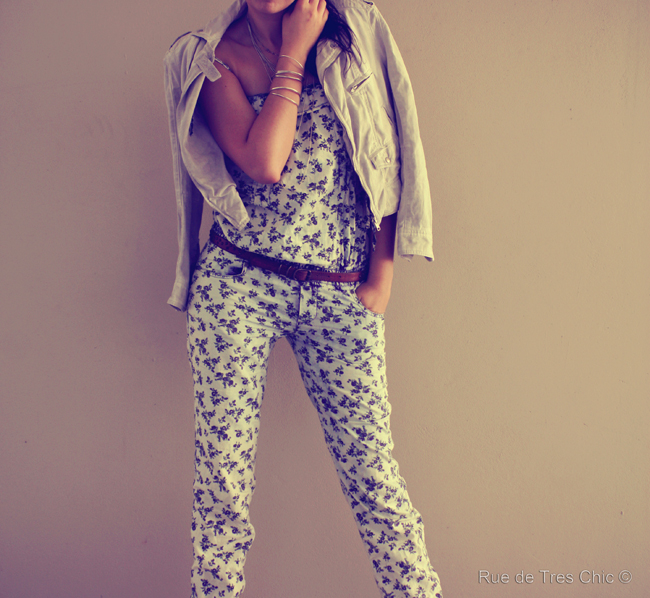 fashion trends, spring summer 2013, how to wear, ootd floral denim jumpsuit  fashion blog, fashion photography