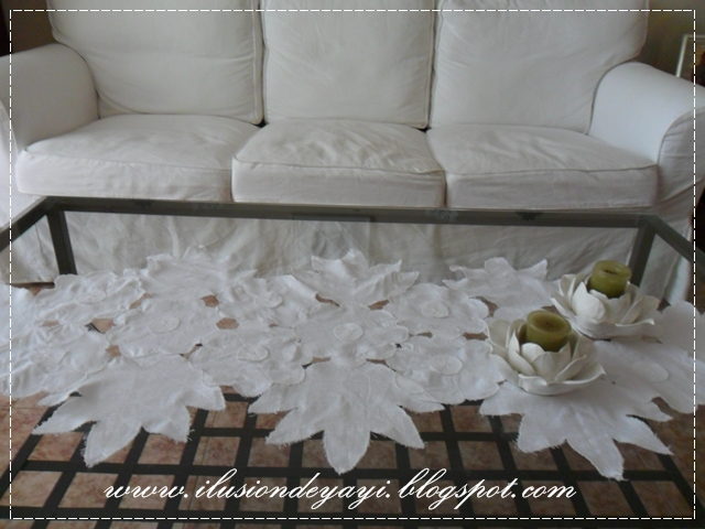 De todo un poco tutorial camino de mesa en lino for Camino de mesa elegante en crochet