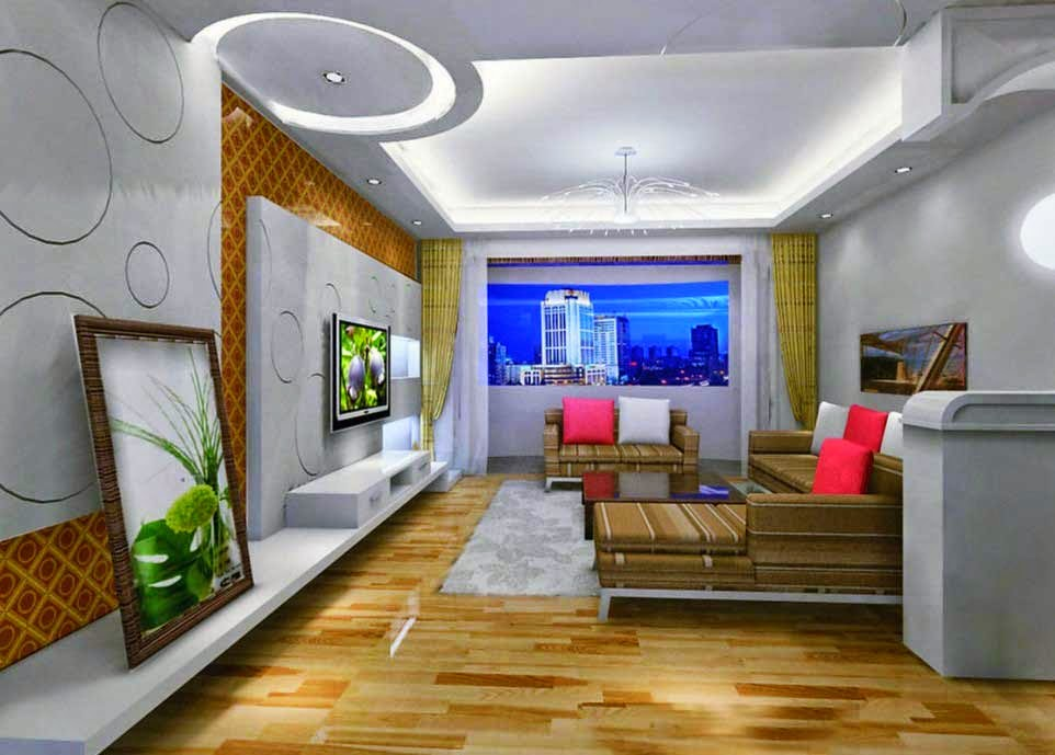 gypsum ceiling model of modern luxury living room