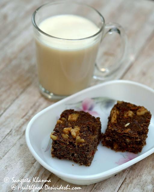 gluten free ragi walnut spiced cake