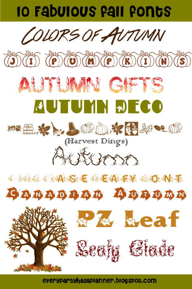 Every Party has a ... Planner: Fall and Halloween Themed Fonts