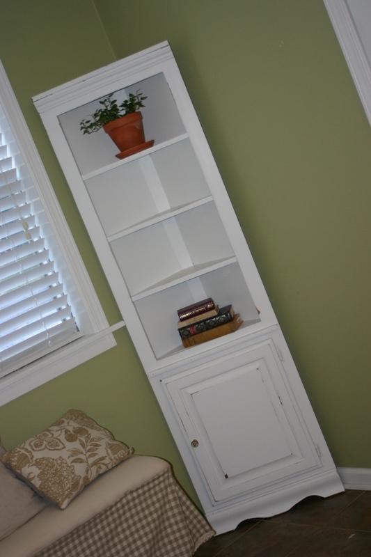 White Distressed Corner Shelf/ Cabinet For Sale!