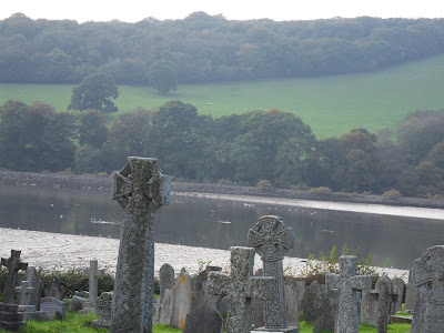 Celtic Crosses at St Winnow church Cornwall
