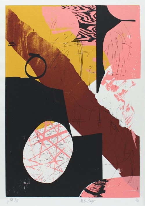 Silkscreen print, yellow, black, pink