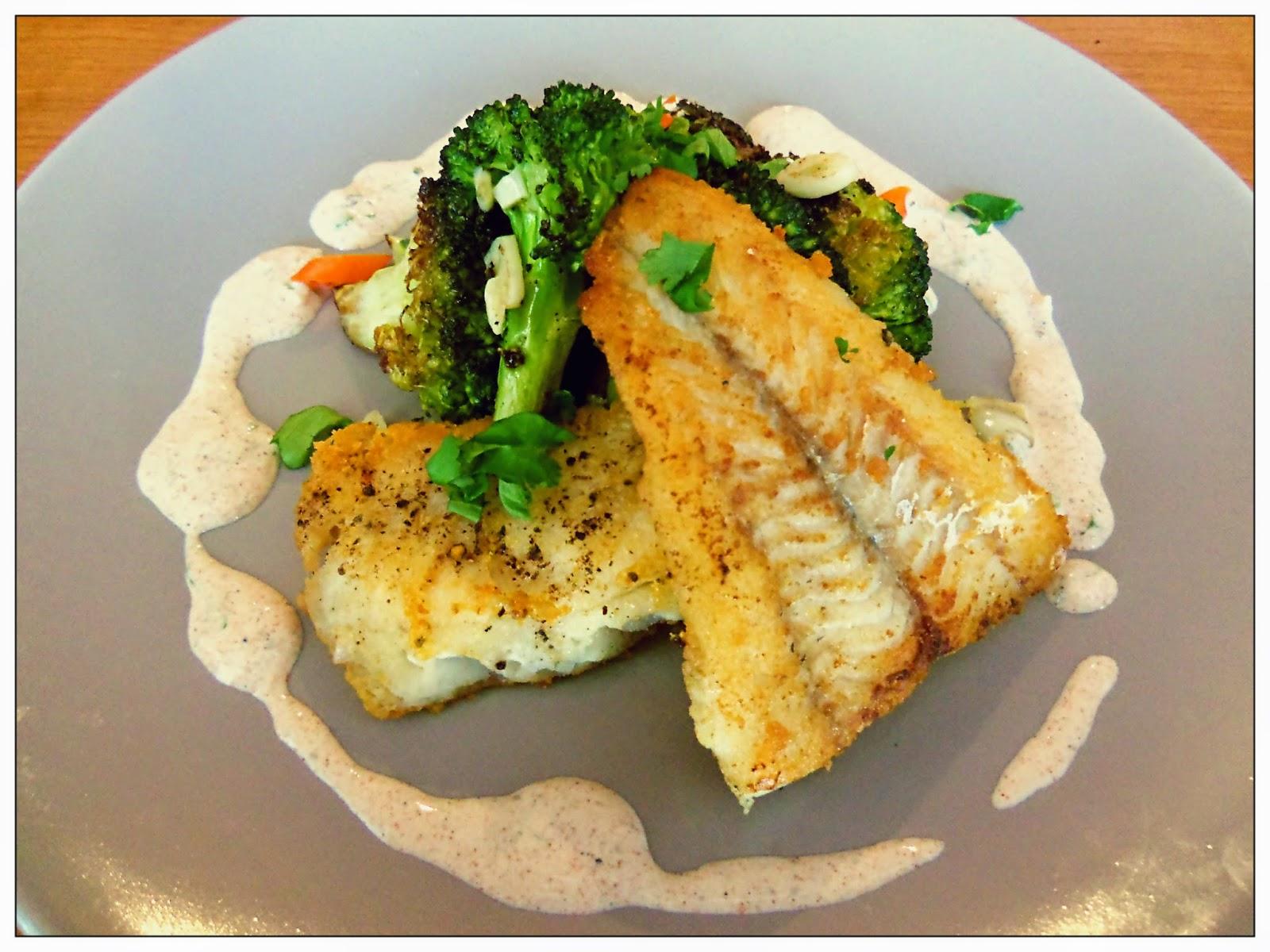 Fried fish with blistered broccoli and yogurt sauce you for Yogurt sauce for fish