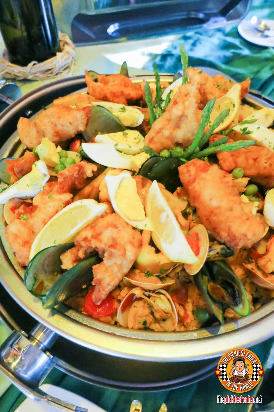 corn rice seafood paella