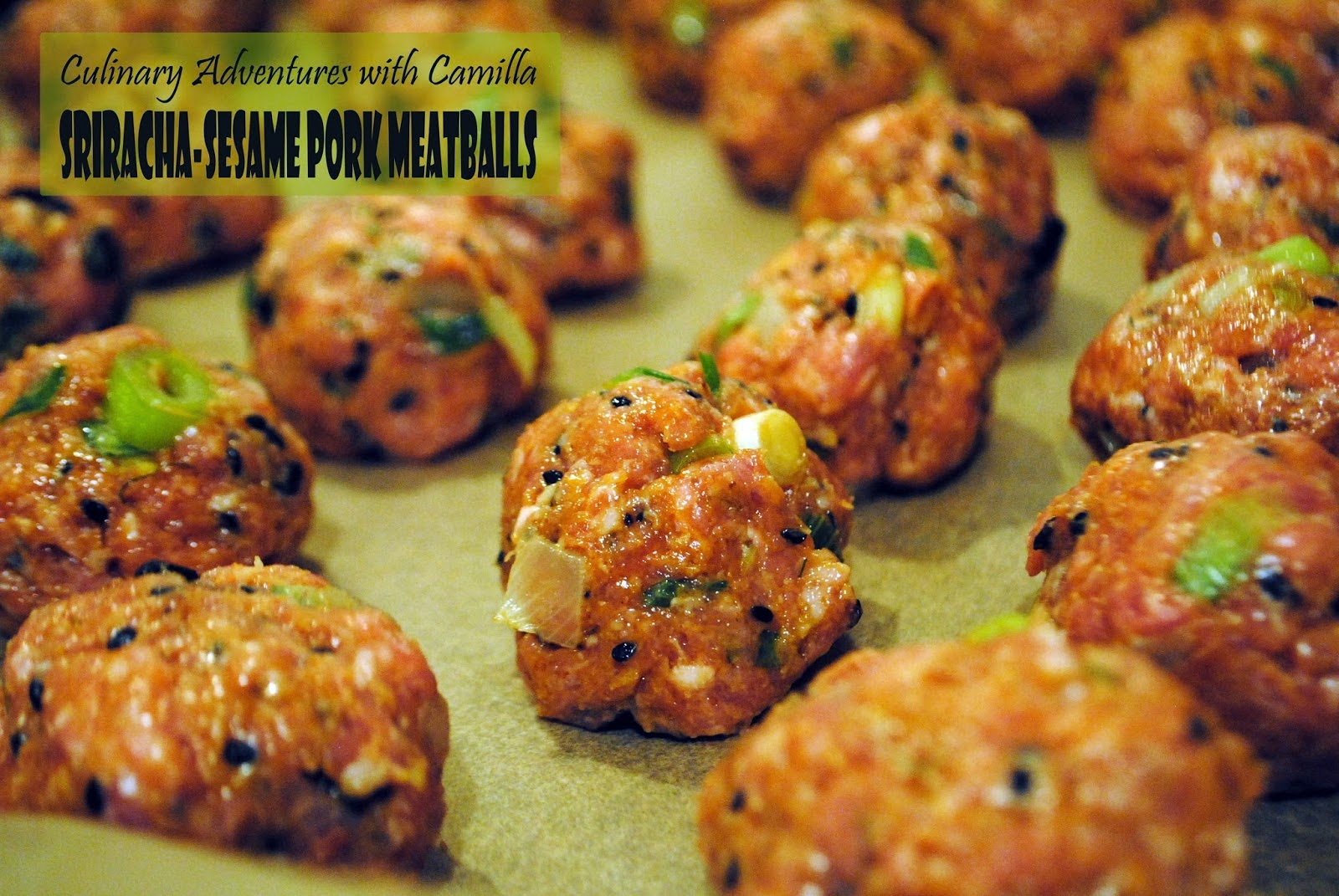 Featured Recipe | Sriracha Sesame Pork Meatballs from Culinary Adventures with Camilla #SecretRecipeClub #recipe