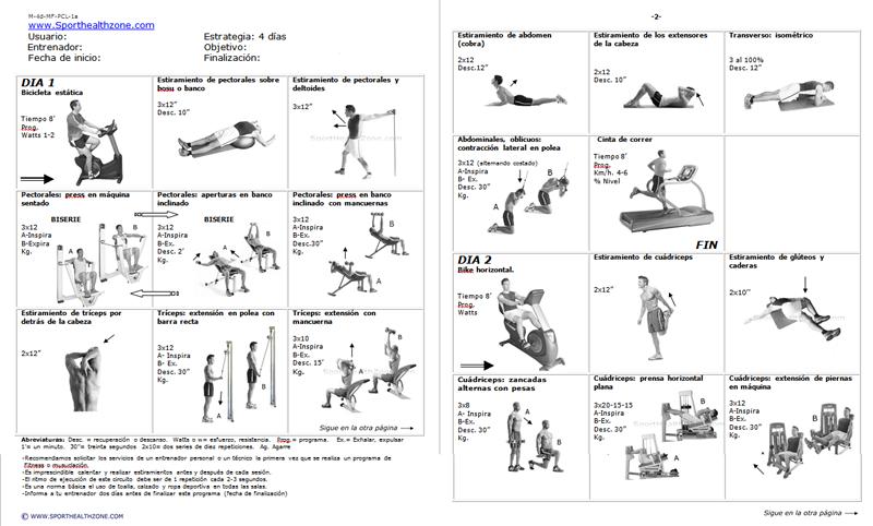 Rutinas de ejercicios, entrenamiento, fitness, pesas