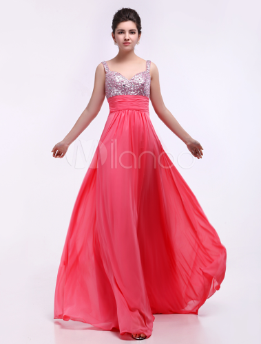 Sequined Chiffon Elastic Prom Dress and price
