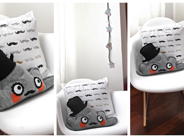 DIY Cuscino baffuto & Isabò/ DIY Mustaches pillow & Isabò