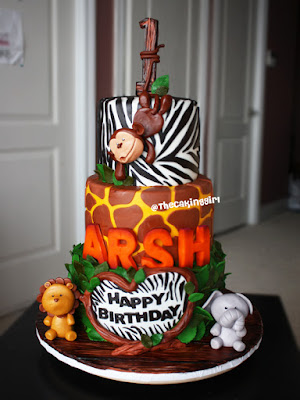 safari animal zebra lion birthday cake