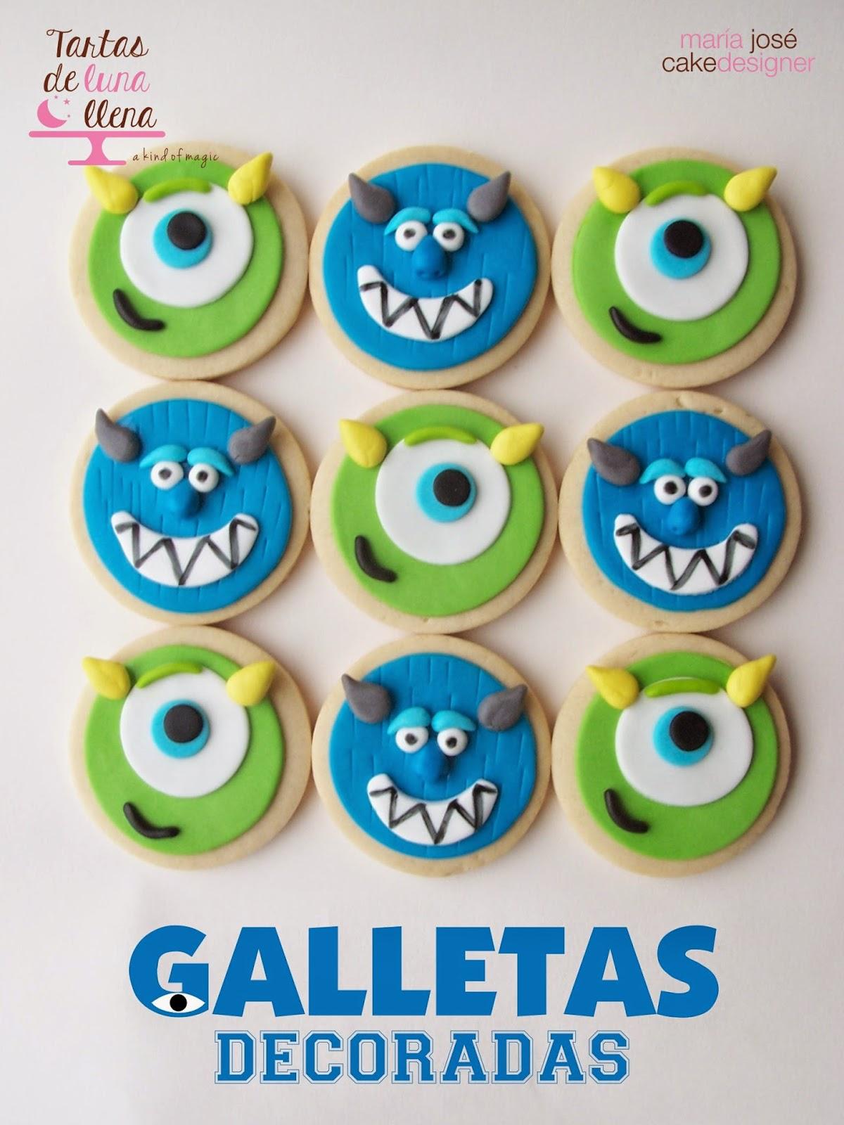 Tartas de luna llena Galletas decoradas con fondant Monstruos