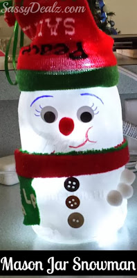 snowman mason jar crafts for kids at christmas