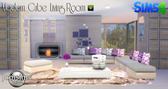 My sims 4 blog modern cube living room set by jomsims for Modern living room sims 4