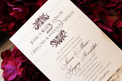 Tiger Lily Invitations damask wedding invitation