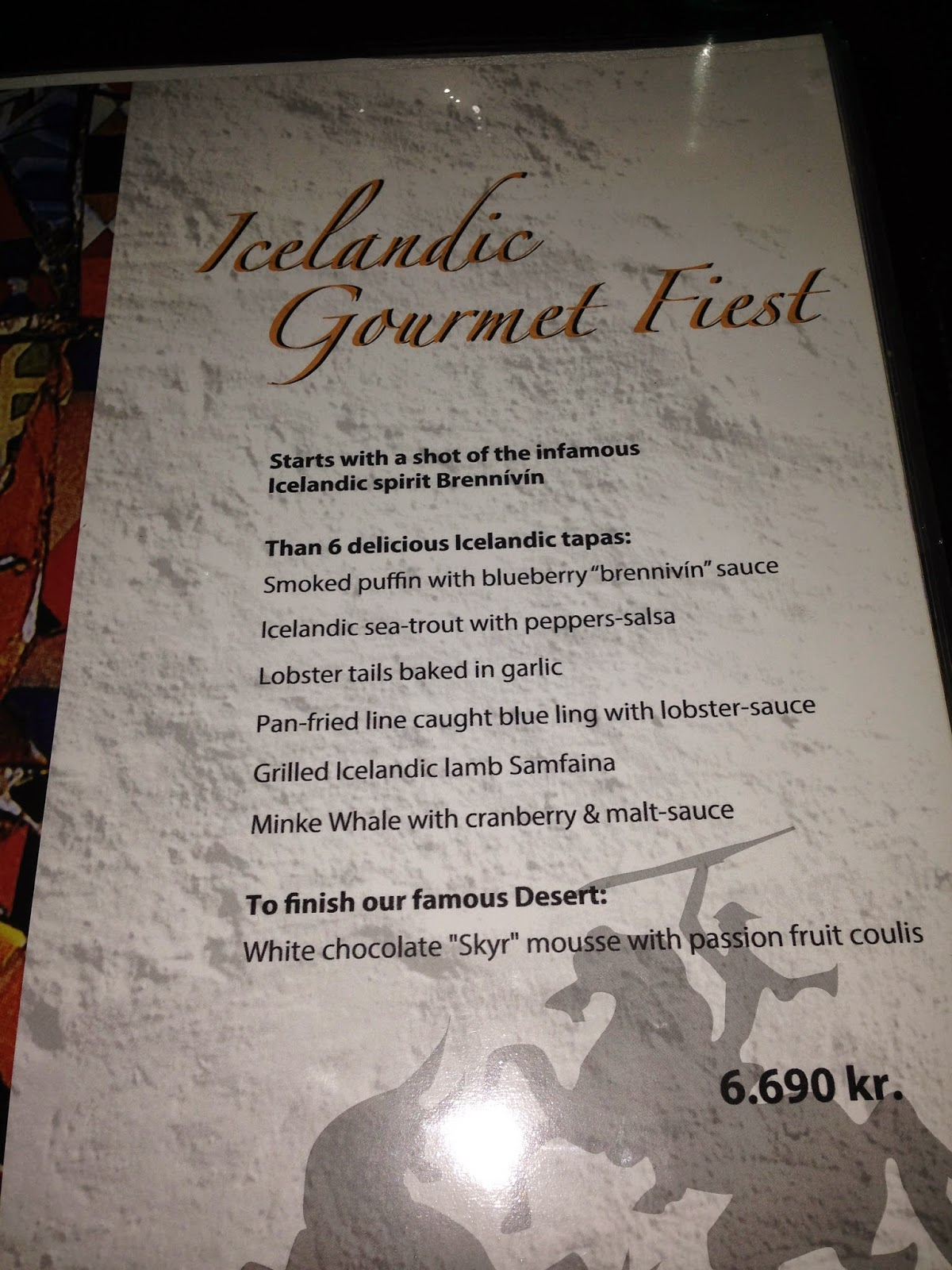 Tapas adventure menu iceland