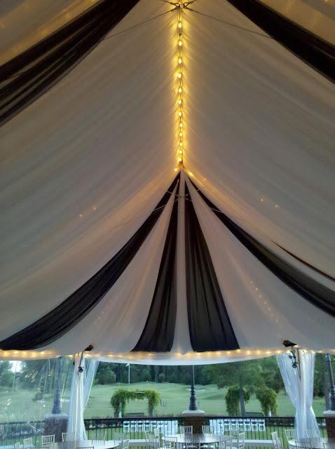 Isha Foss Events custom tent draping navy and white