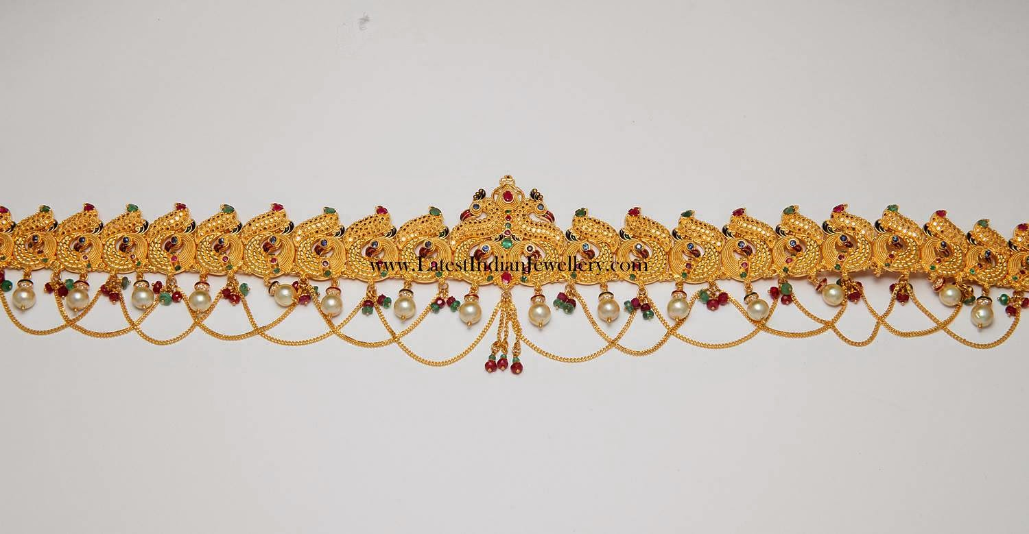 Peacock Chain Type Gold Vaddanam