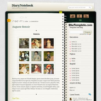 Diary/NoteBook blogger template. note book style template blogger.