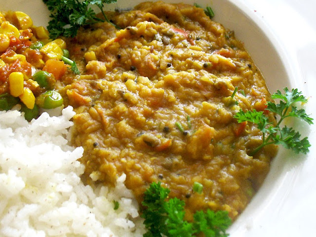 red lentil mung dal curry