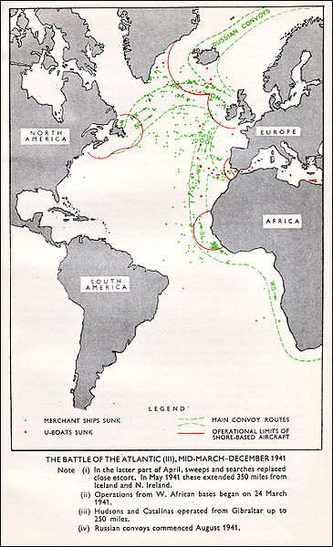 WW2 Battle of Atlantic MAP of Convoy Routes March-December 1941