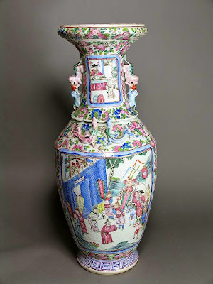 Famille Rose export vase, Boston collection