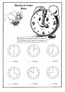 Atividades de 1° ano Fundamental Matemática - Medida de tempo e horas