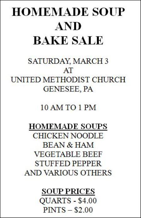 3-3 Soup & Bake Sale, Genesee UMC
