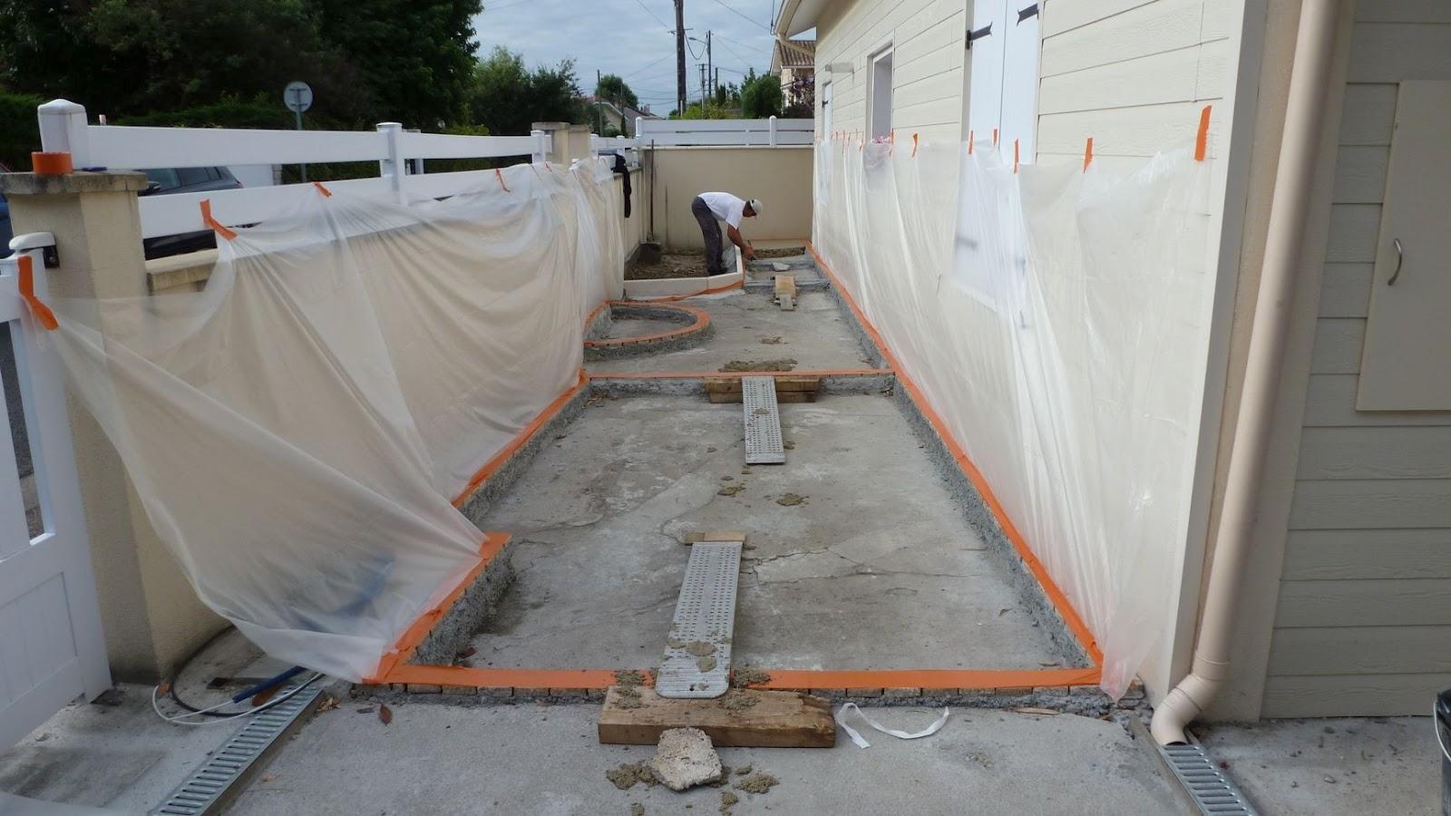 Pose de b ton d coratif d sactiv - Pave de beton terrasse ...