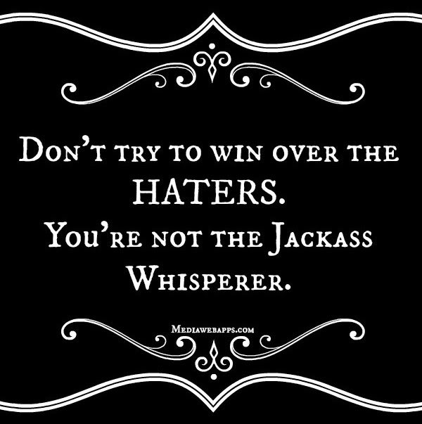 Advice Quote - Don't try to win over the haters