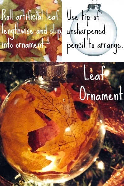 Make your own ornaments with artificial leaves and cler ornaments